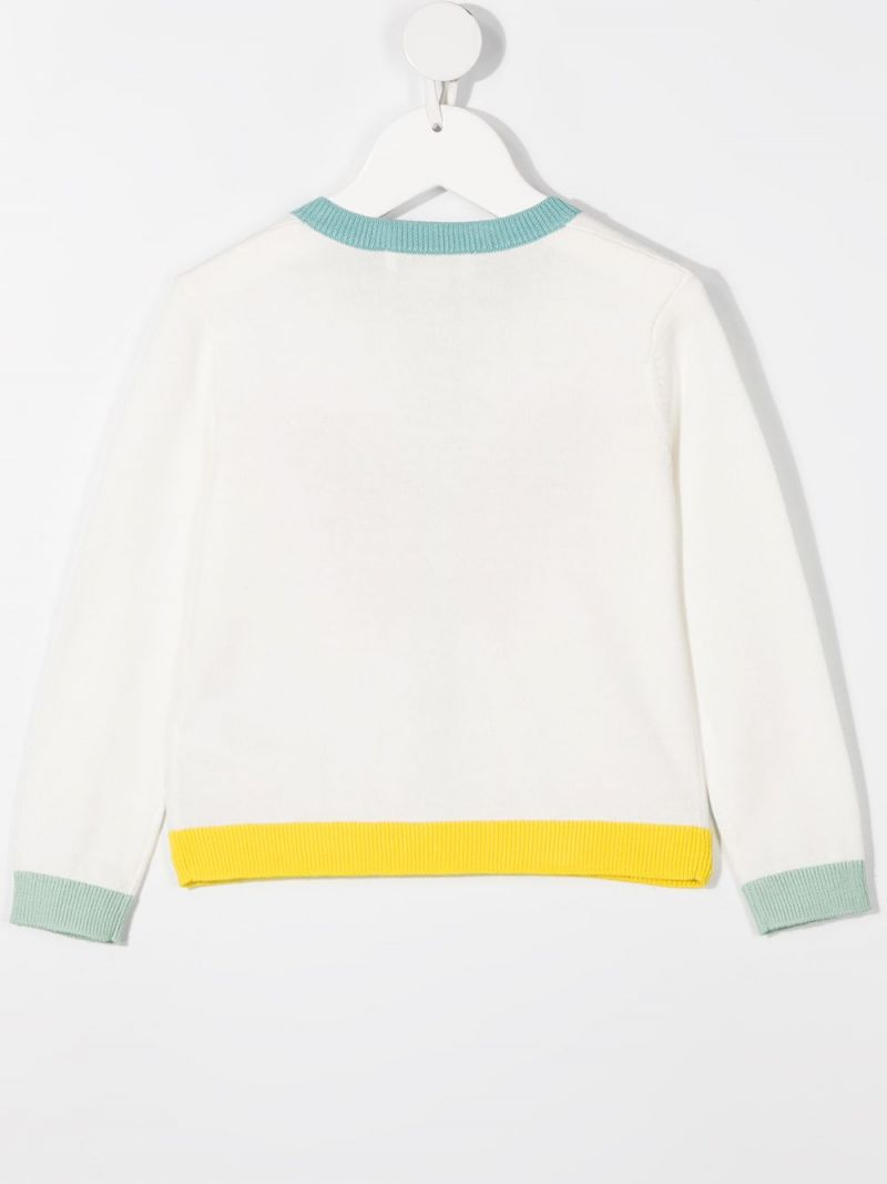 STELLA McCARTNEY KIDS: butterfly intarsia cotton cardigan Color White_2