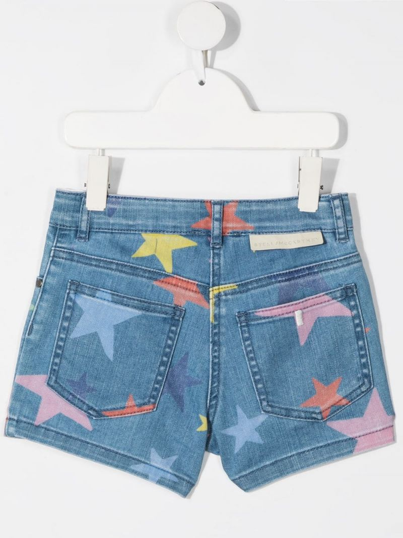 STELLA McCARTNEY KIDS: stars print stretch denim shorts Color Multicolor_2
