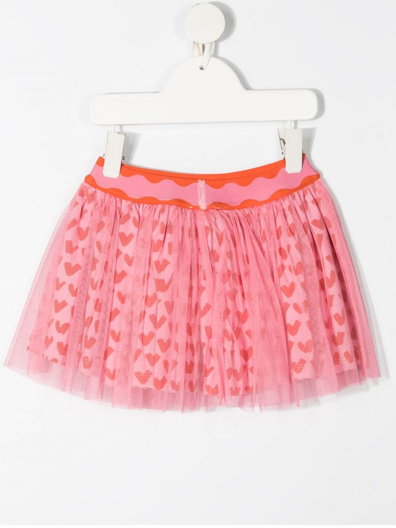 STELLA McCARTNEY KIDS: hearts print tulle skirt Color Pink_2
