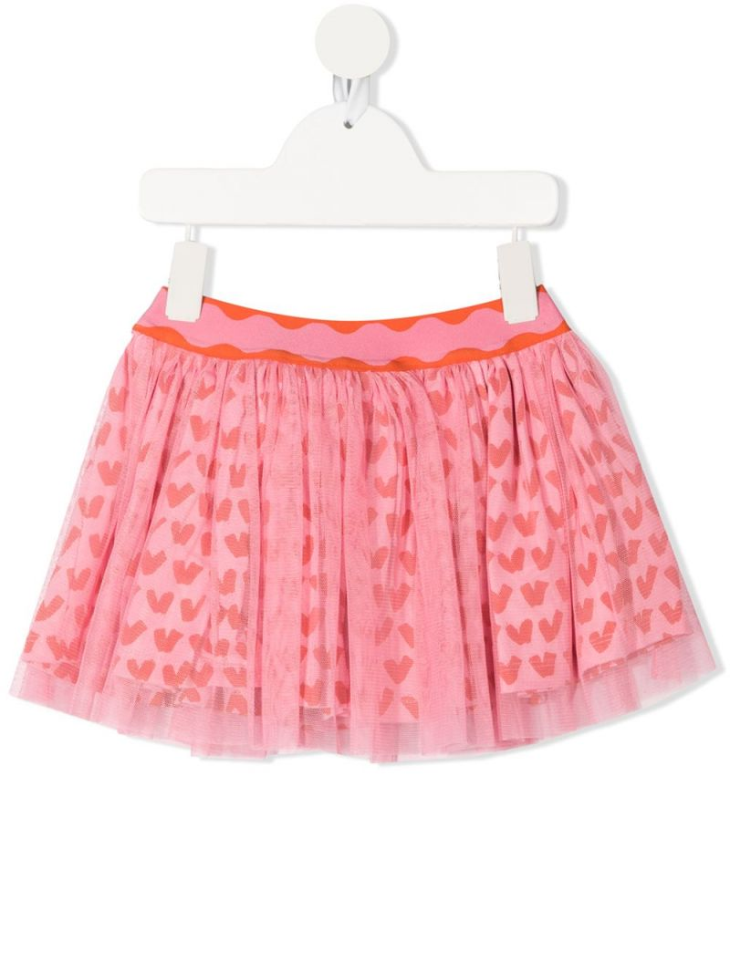 STELLA McCARTNEY KIDS: hearts print tulle skirt Color Pink_1