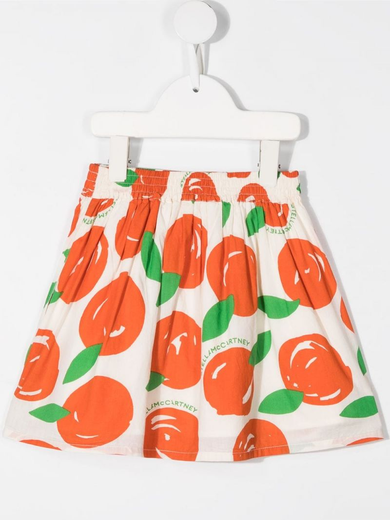 STELLA McCARTNEY KIDS: clementine print cotton skirt Color White_2