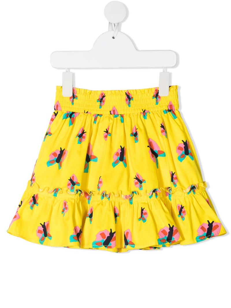 STELLA McCARTNEY KIDS: butterfly print cotton skirt Color Yellow_1