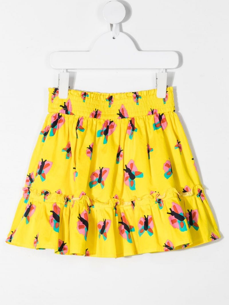 STELLA McCARTNEY KIDS: butterfly print cotton skirt Color Yellow_2