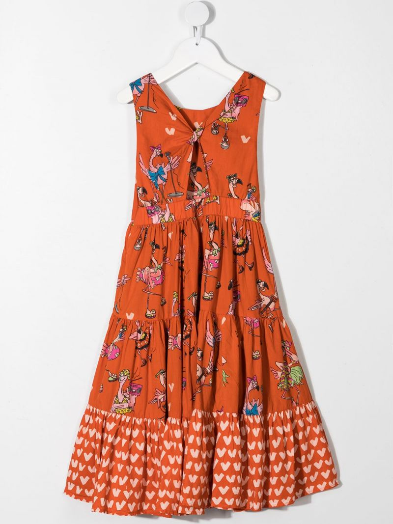STELLA McCARTNEY KIDS: flamingo print cotton flounced dress Color Red_2