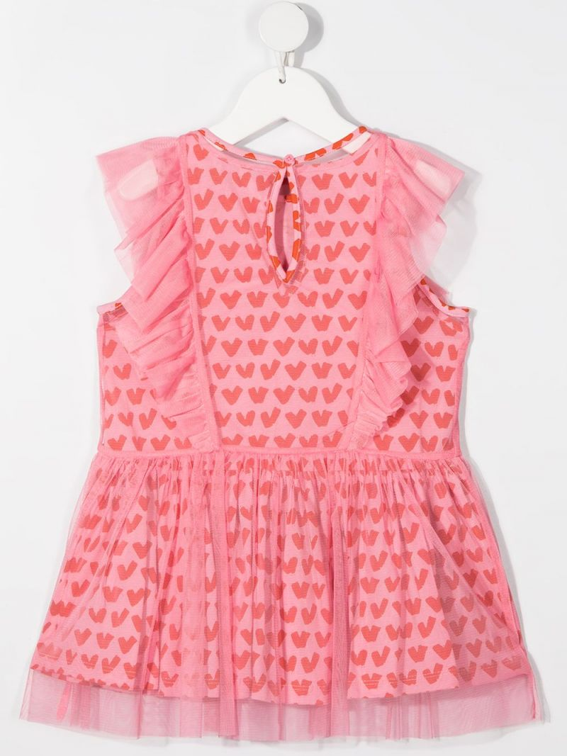 STELLA McCARTNEY KIDS: hearts print tulle sleeveless dress Color Pink_2