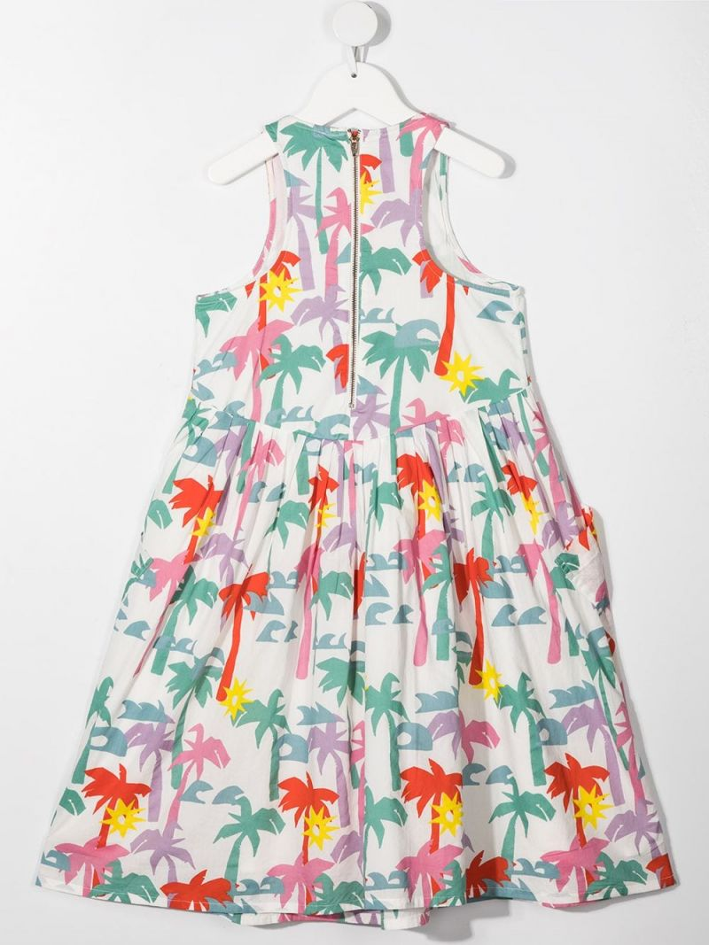 STELLA McCARTNEY KIDS: Palms print cotton sleeveless dress Color White_2
