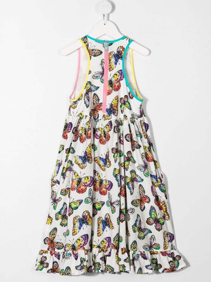 STELLA McCARTNEY KIDS: butterfly print viscose sleeveless dress Color White_2