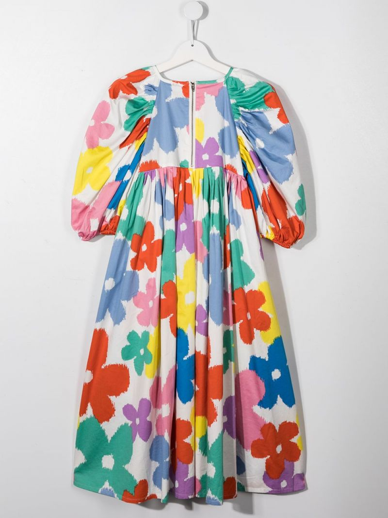 STELLA McCARTNEY KIDS: floral print organic cotton dress Color Multicolor_2