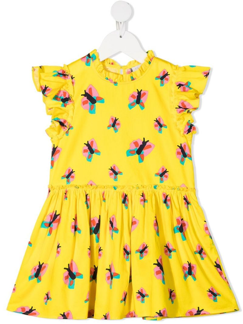 STELLA McCARTNEY KIDS: butterfly print cotton sleeveless dress Color Yellow_1