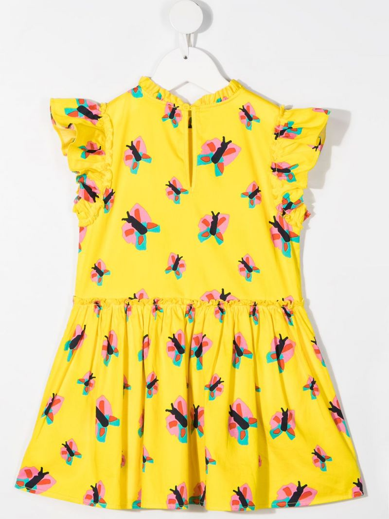 STELLA McCARTNEY KIDS: butterfly print cotton sleeveless dress Color Yellow_2