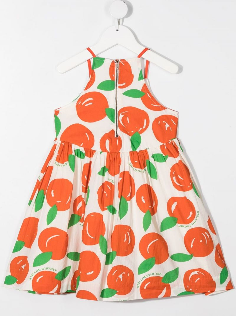 STELLA McCARTNEY KIDS: clementines print cotton sleeveless dress Color White_2