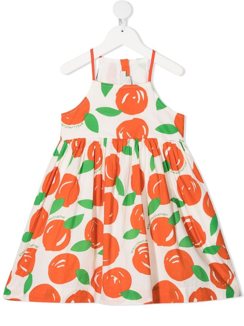 STELLA McCARTNEY KIDS: clementines print cotton sleeveless dress Color White_1
