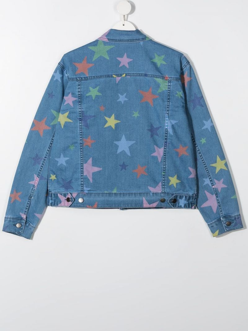 STELLA McCARTNEY KIDS: star print denim jacket Color Multicolor_2