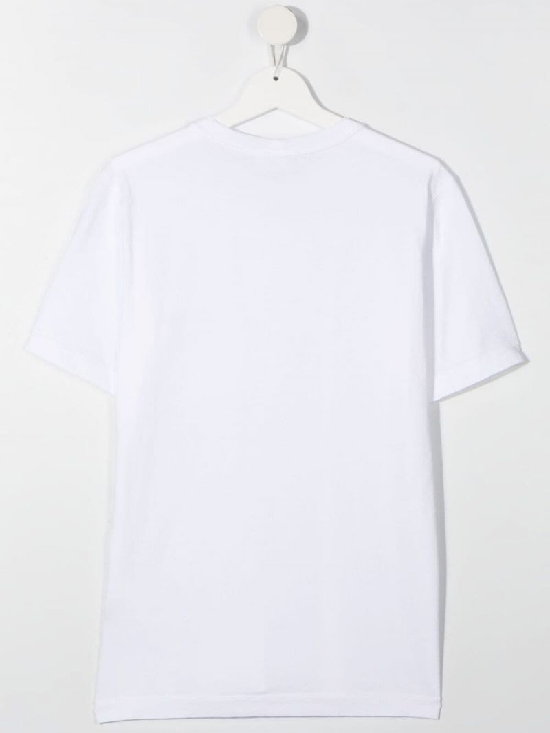 STONE ISLAND JUNIOR: logo patch cotton t-shirt Color White_2