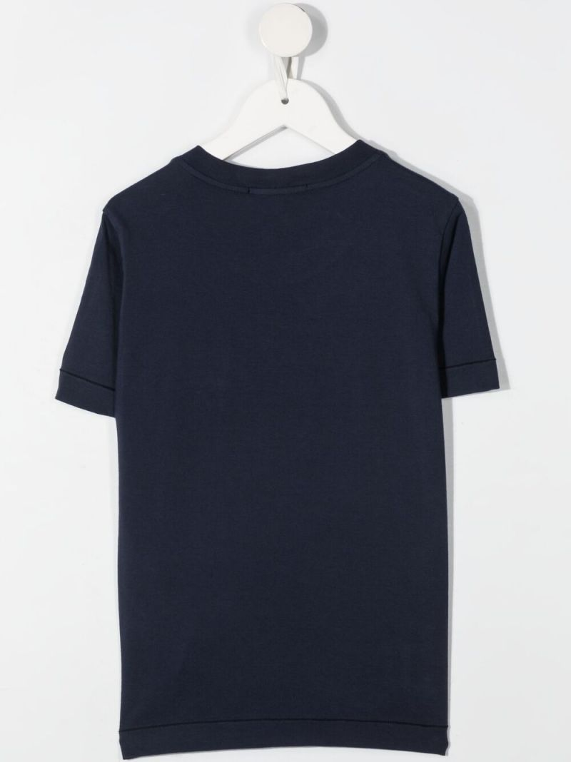 STONE ISLAND JUNIOR: logo patch cotton t-shirt Color Blue_2