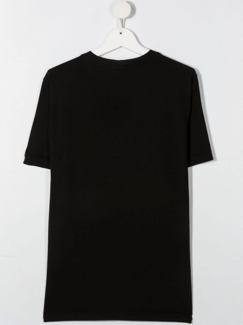 STONE ISLAND JUNIOR: logo patch cotton t-shirt Color Black_2