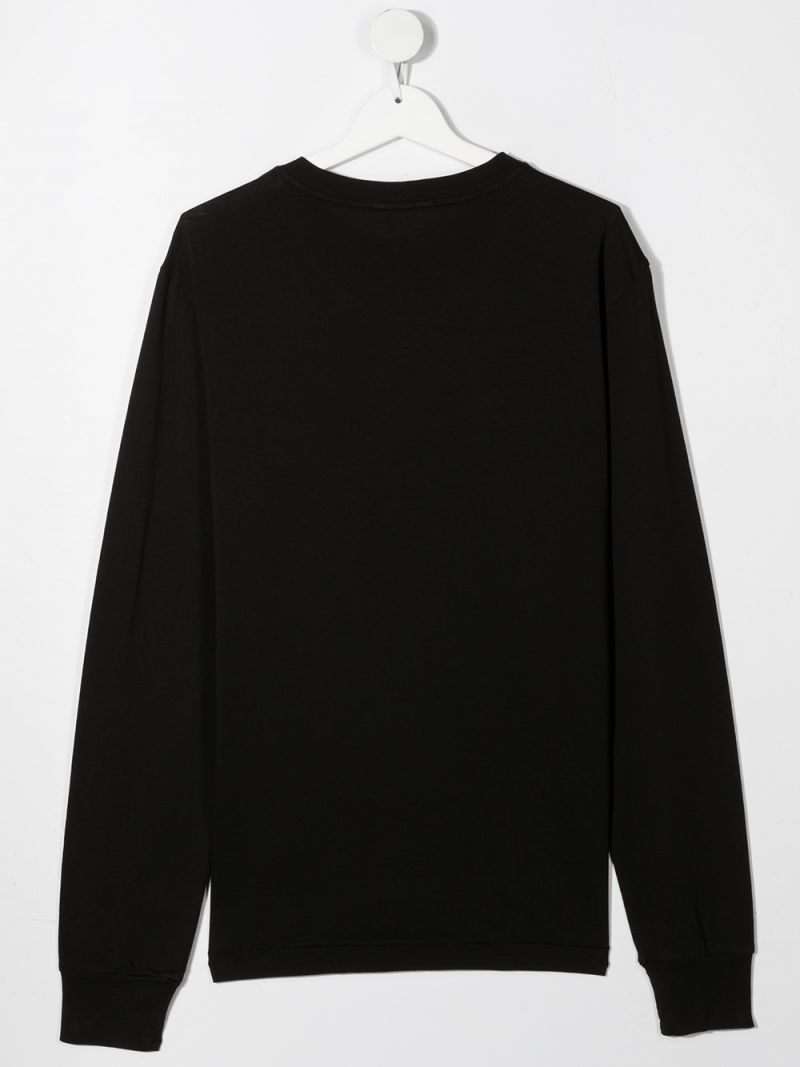 STONE ISLAND JUNIOR: logo patch cotton long-sleeved t-shirt Color Black_2