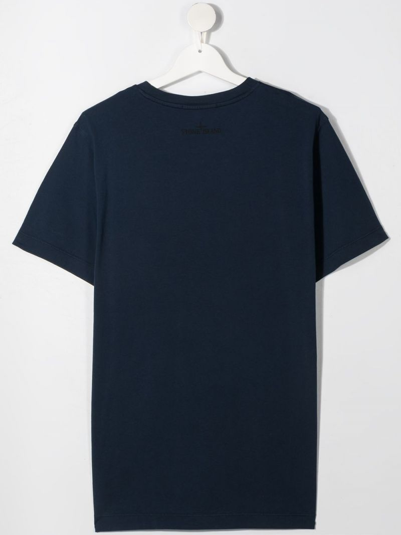 STONE ISLAND JUNIOR: logo print cotton t-shirt Color Blue_2