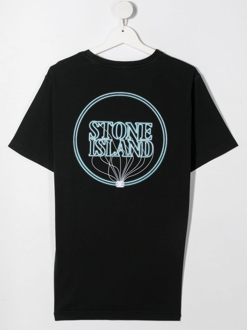 STONE ISLAND JUNIOR: graphic logo print cotton t-shirt Color Black_2