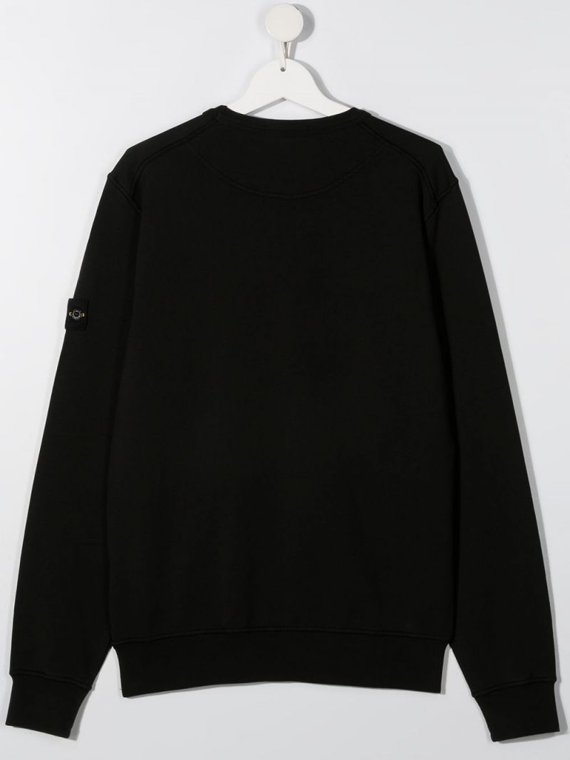 STONE ISLAND JUNIOR: logo badge-detailed cotton sweatshirt Color Black_2