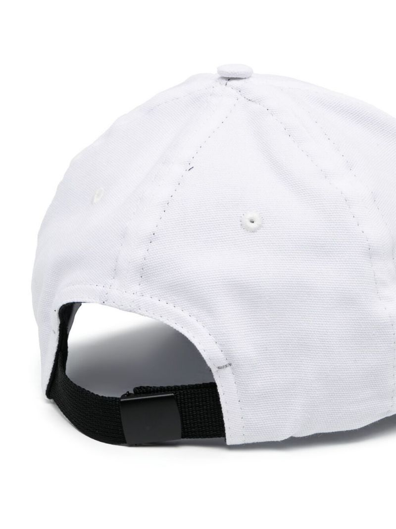 STONE ISLAND JUNIOR: logo embroidered cotton baseball cap Color White_2