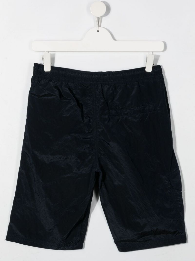 STONE ISLAND JUNIOR: logo patch nylon shorts Color Blue_2