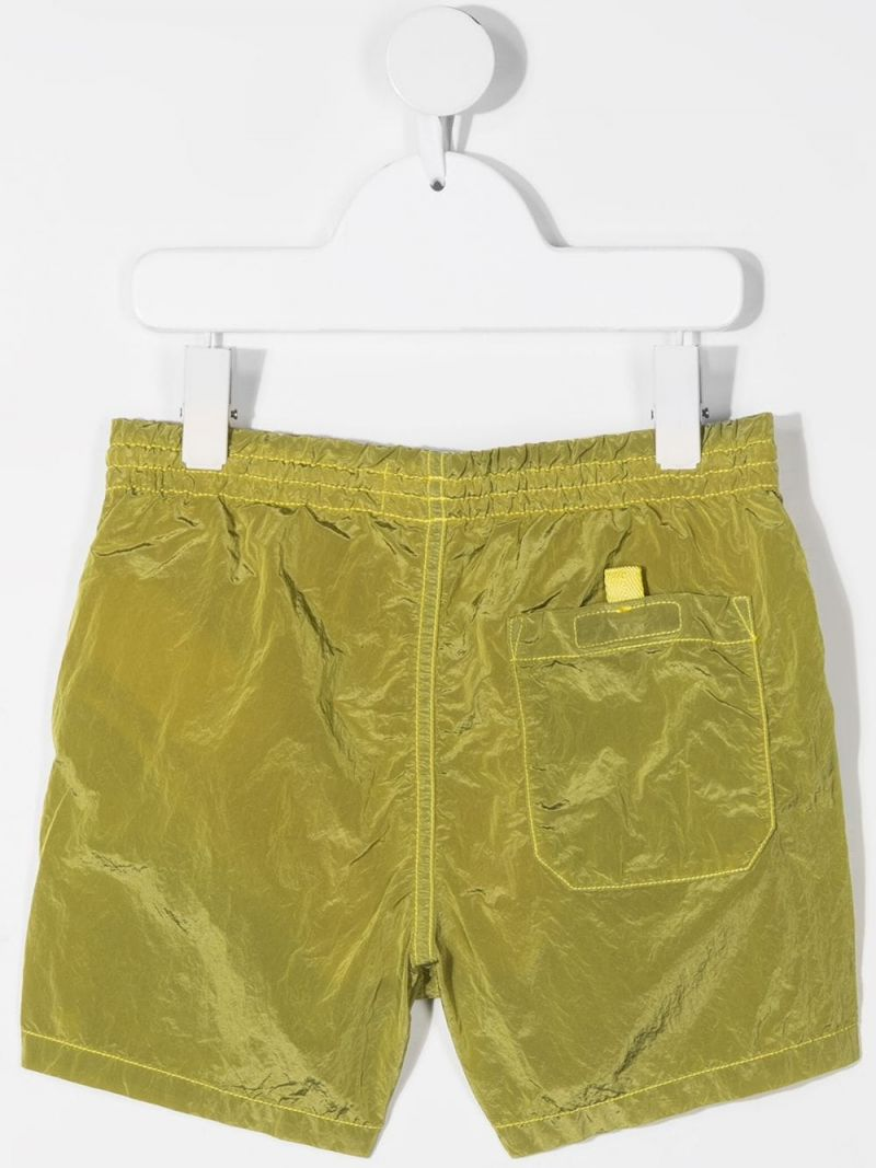 STONE ISLAND JUNIOR: reflective nylon swim shorts Color Yellow_2