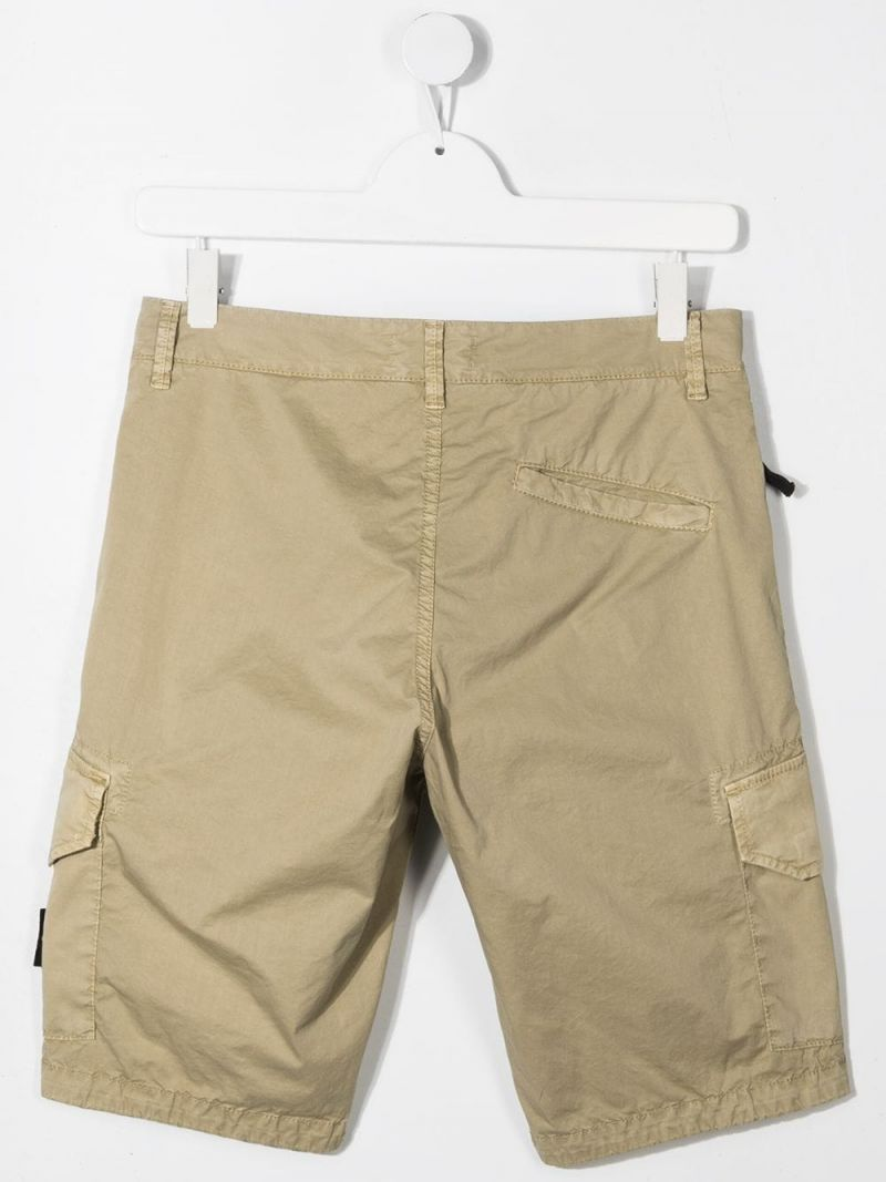 STONE ISLAND JUNIOR: logo badge-detailed stretch cotton shorts Color Brown_2