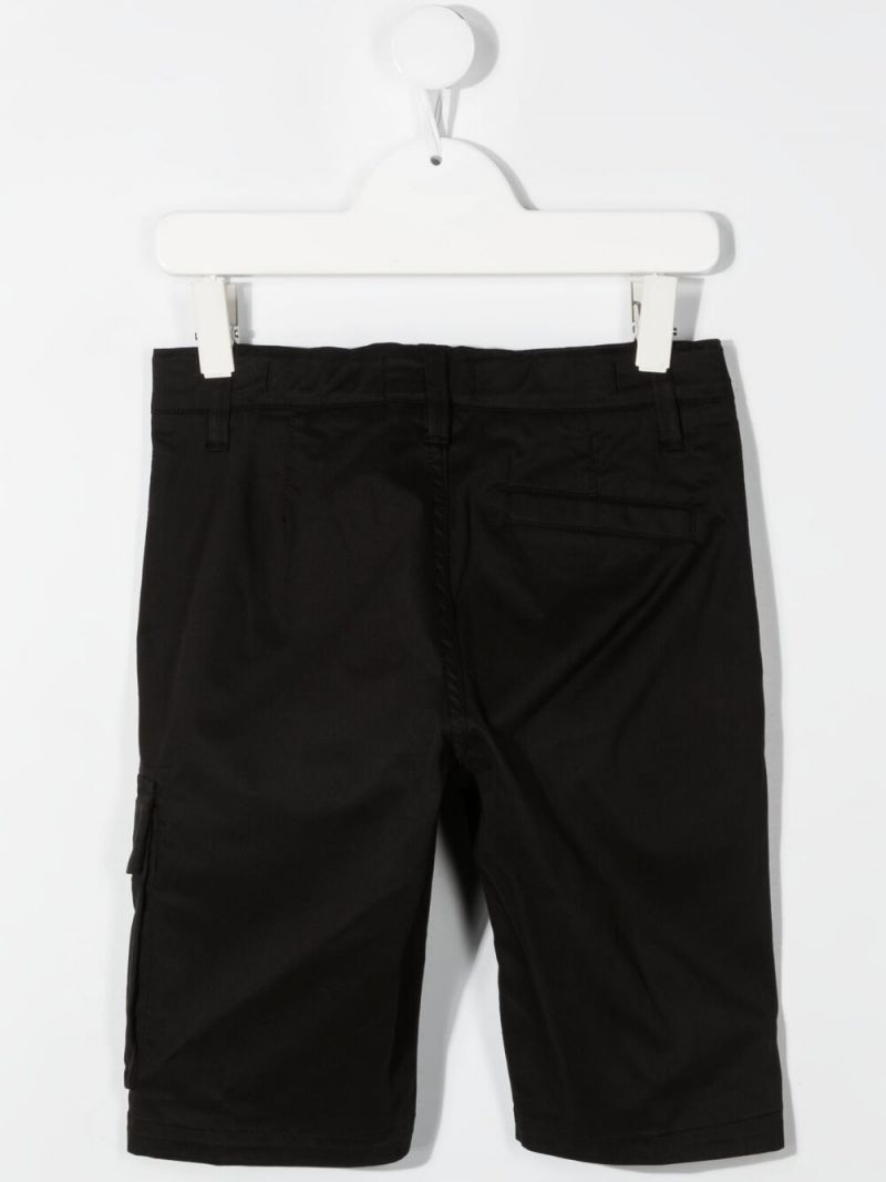 STONE ISLAND JUNIOR: stretch cotton shorts Color Black_2