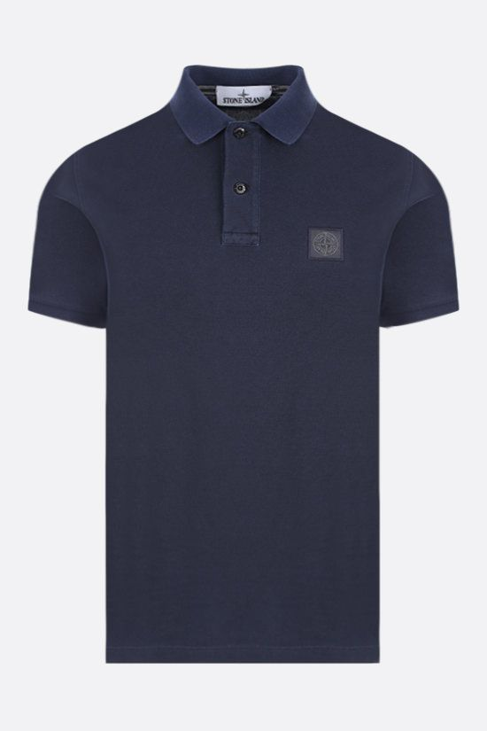 STONE ISLAND: logo patch cotton polo shirt Color Blue_1