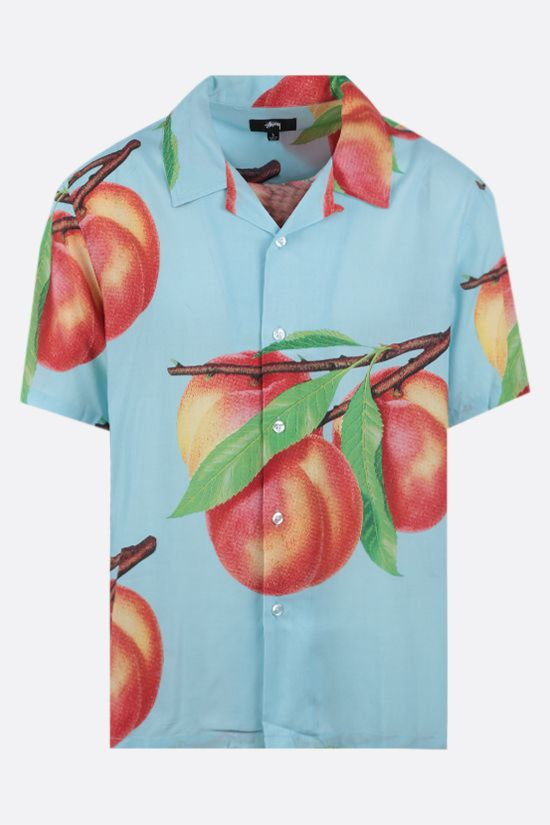 STUSSY: Peach Pattern rayon bowling shirt Color Blue_1