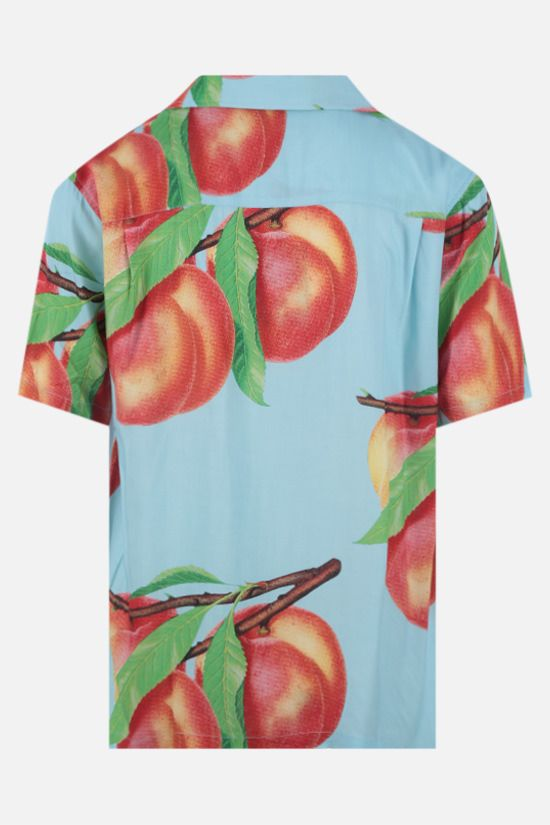 STUSSY: Peach Pattern rayon bowling shirt Color Blue_2