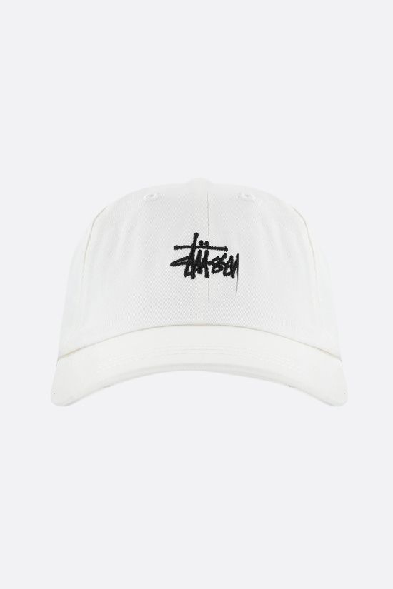 STUSSY: logo embroidered gabardine baseball cap Color Neutral_1