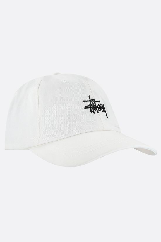STUSSY: logo embroidered gabardine baseball cap Color Neutral_2