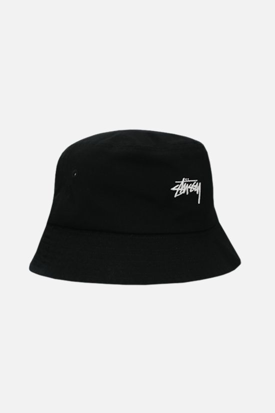 STUSSY: logo embroidered gabardine bucket hat Color Black_2