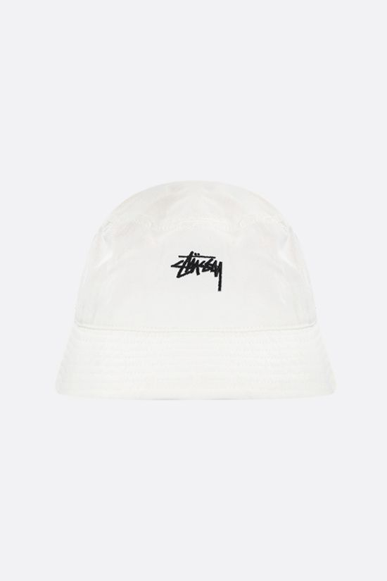 STUSSY: logo embroidered gabardine bucket hat Color Neutral_1