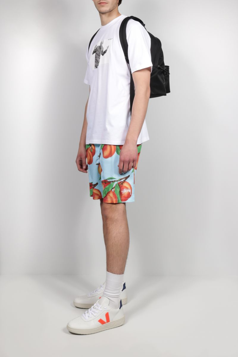 STUSSY: Peach Pattern nylon swim shorts Color Blue_2