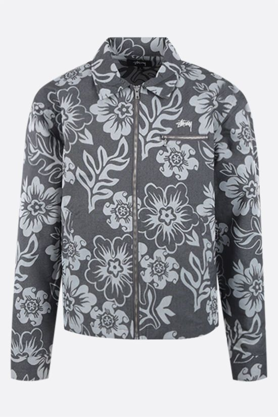 STUSSY: Hawaiian nylon overshirt Color Black_1