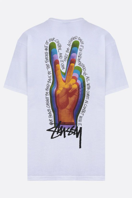 STUSSY: Peace Sign cotton t-shirt Color White_2