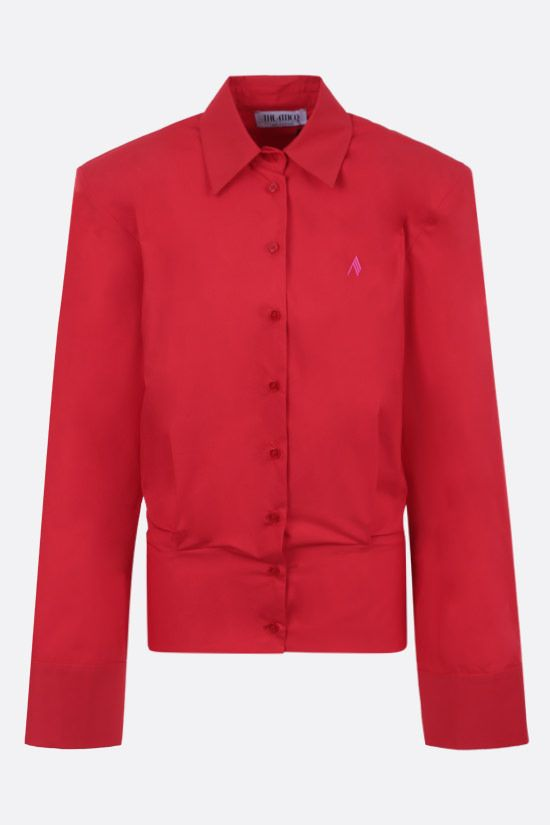 THE ATTICO: shoulder pad-detailed cotton shirt Color Red_1