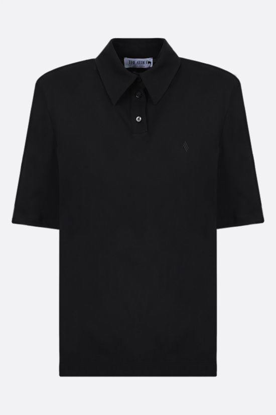 THE ATTICO: Astrid cotton polo shirt Color Black_1