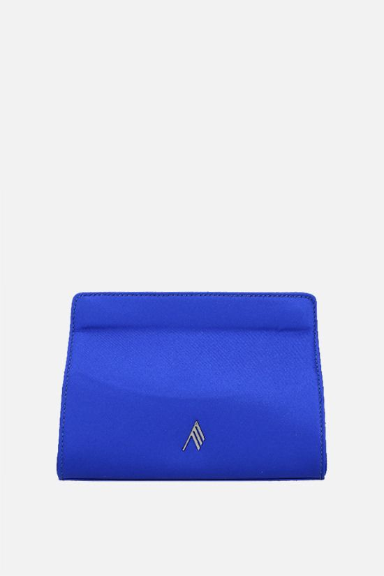 THE ATTICO: logo-detailed satin clutch Color Blue_1