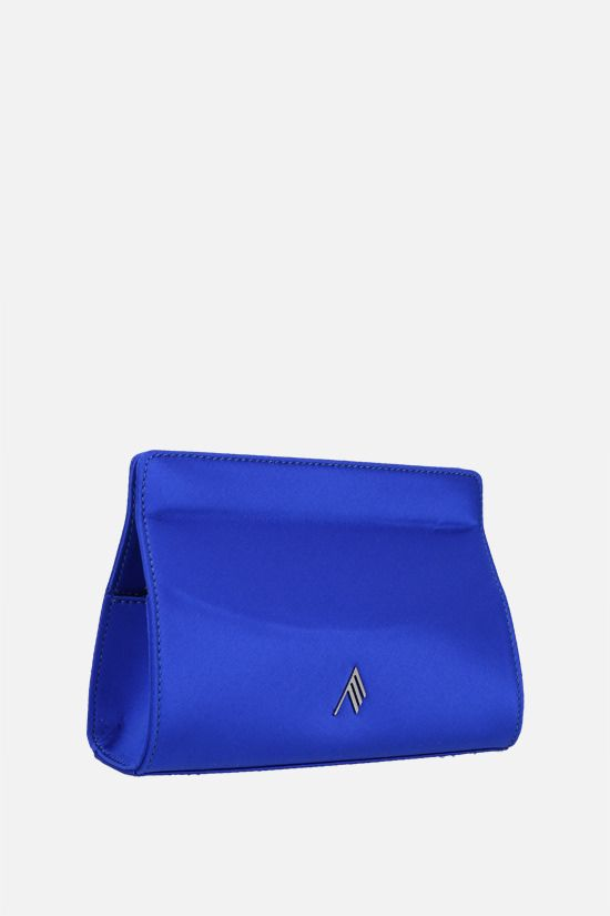 THE ATTICO: logo-detailed satin clutch Color Blue_2