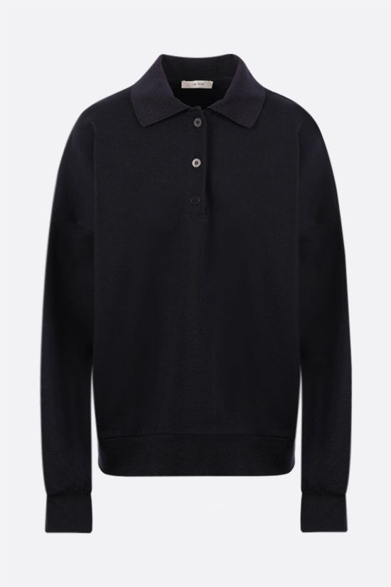 THE ROW: Corzas long-sleeved oversize cotton polo shirt Color Blue_1
