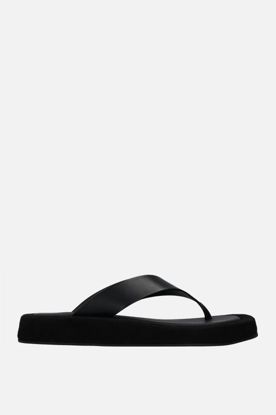 THE ROW: Ginza smooth leather and suede thong sandals Color Black_1