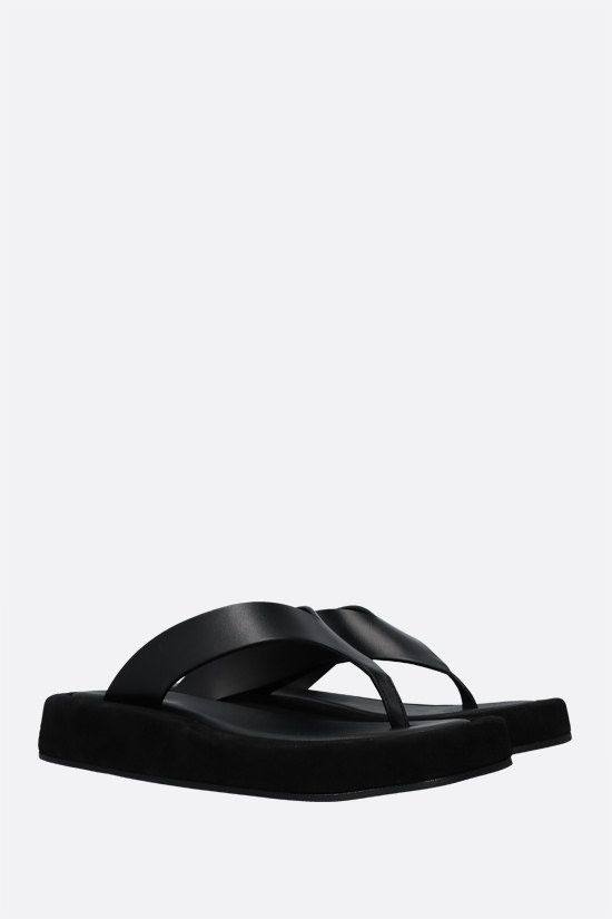 THE ROW: Ginza smooth leather and suede thong sandals Color Black_2
