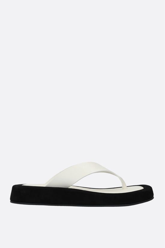 THE ROW: Ginza smooth leather and suede thong sandals Color Neutral_1