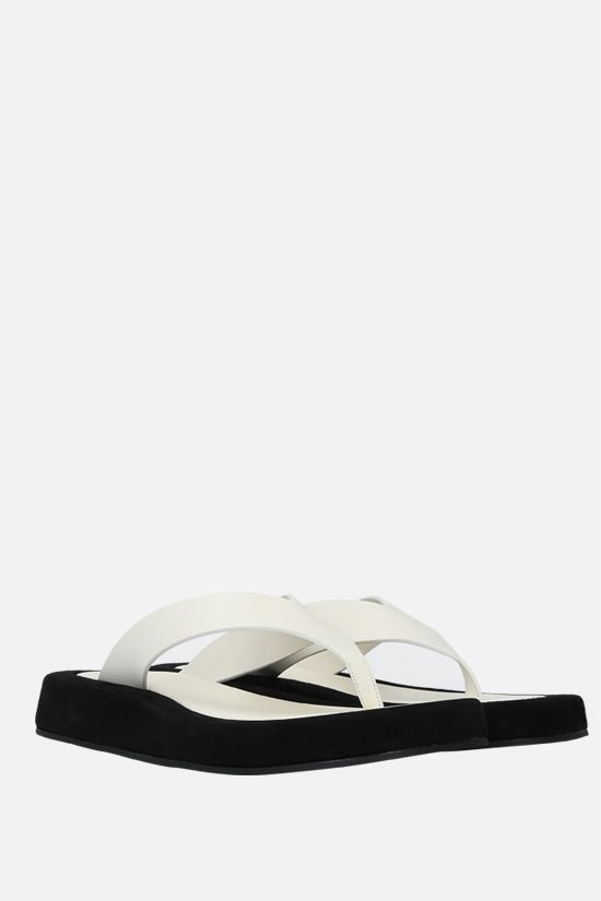 THE ROW: Ginza smooth leather and suede thong sandals Color Neutral_2