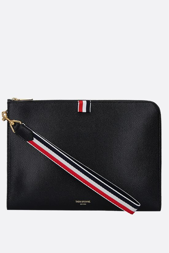 THOM BROWNE: Pebble Grain half-zip pouch Color Black_1