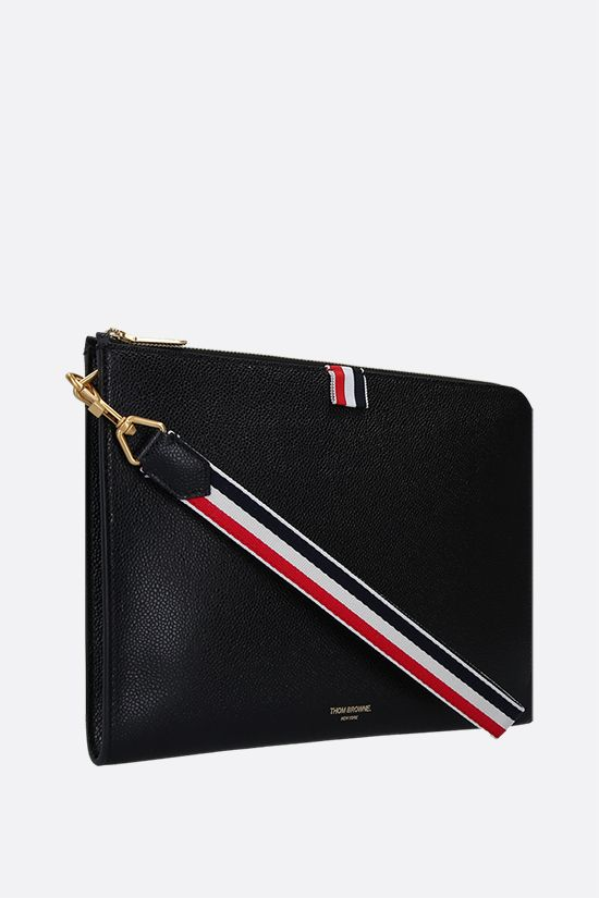 THOM BROWNE: Pebble Grain half-zip pouch Color Black_2
